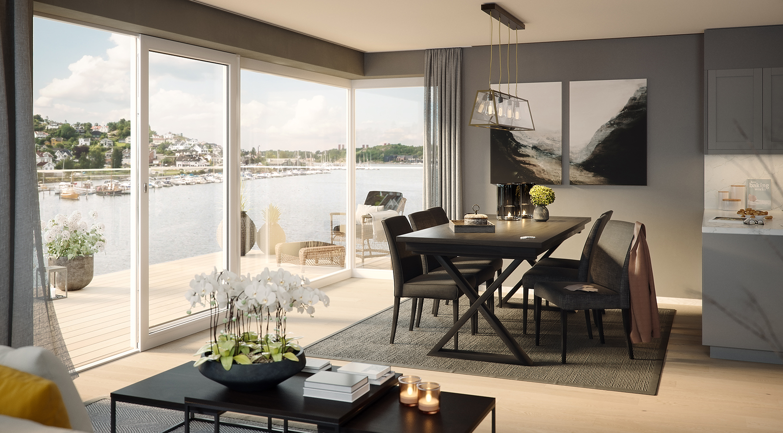 Bygg A2 - Kjøkken og spisehjørne i 7. etasje med utsikt