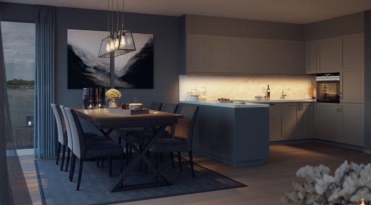 Bygg A2 - Kjøkken og spisehjørne i 7. etasje